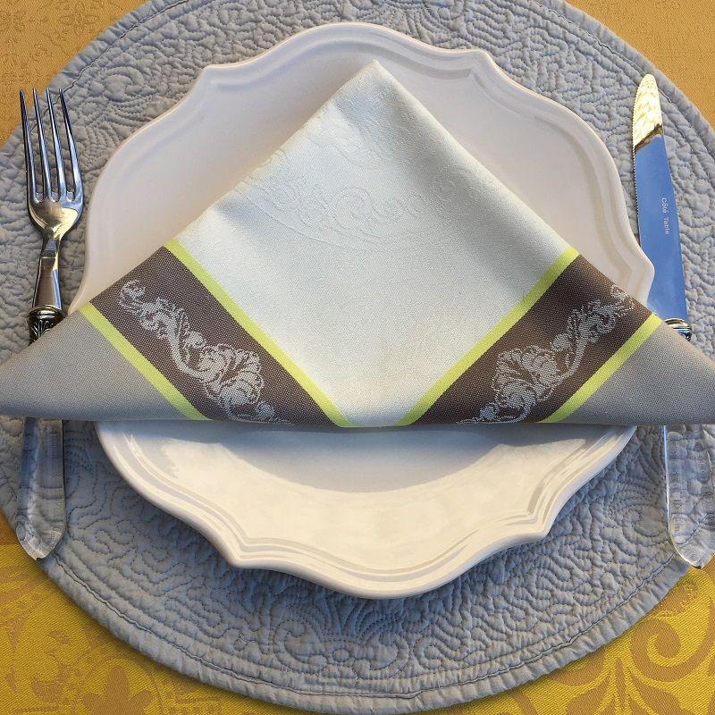 "Set of 10 table napkins  Sud Etoffe ""Bastide"" ecru and taupe"