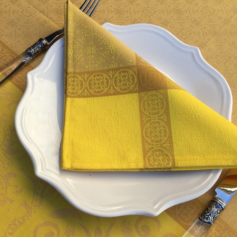 "Serviette de table Sud Etoffe ""Alicante"" jaune curry"