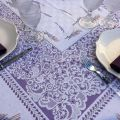 "Rectangular webbed Jacquard tablecloth ""Cassis"" lavender and wheat  by Tissages du Soleil"