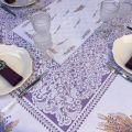 """Rectangular webbed Jacquard tablecloth """"Cassis"""" lavender and wheat  by Tissages du Soleil"""