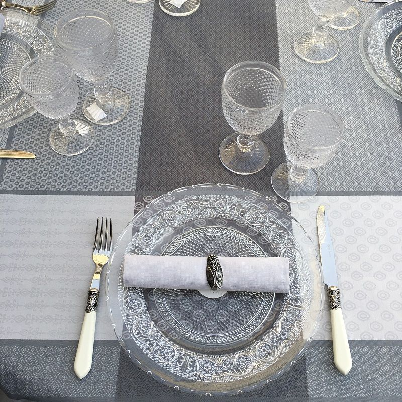 "Rectangular coated Jacquard tablecloth ""Gigondas"" grey from Sud Etoffe"