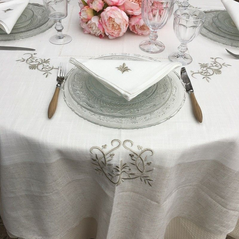 "Square linen and polyester tablecloth ""Coeurs brodés""white and linen  bordure"