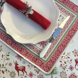 "Provence Jacquard placemat,""Vallée"" red and green from Tissus Toselli in Nice"