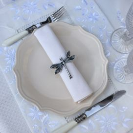 "Set de table polyester ""Fleurs brodées"" blanc, bordure lin blanc"