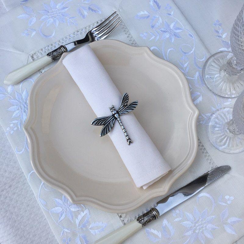"""Set de table polyester """"Fleurs brodées"""" blanc, bordure lin blanc"""