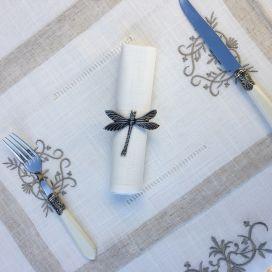 """Set de table lin et polyester """"Coeurs brodés"""" blanc bordure lin"""