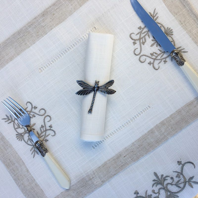 """Linen and polyester  table mat """"Coeurs brodés"""" linen and white bordure"""