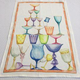 "Torchon en lin ""Crystal"" bordure rouge Tessitura Toscana Telerie"