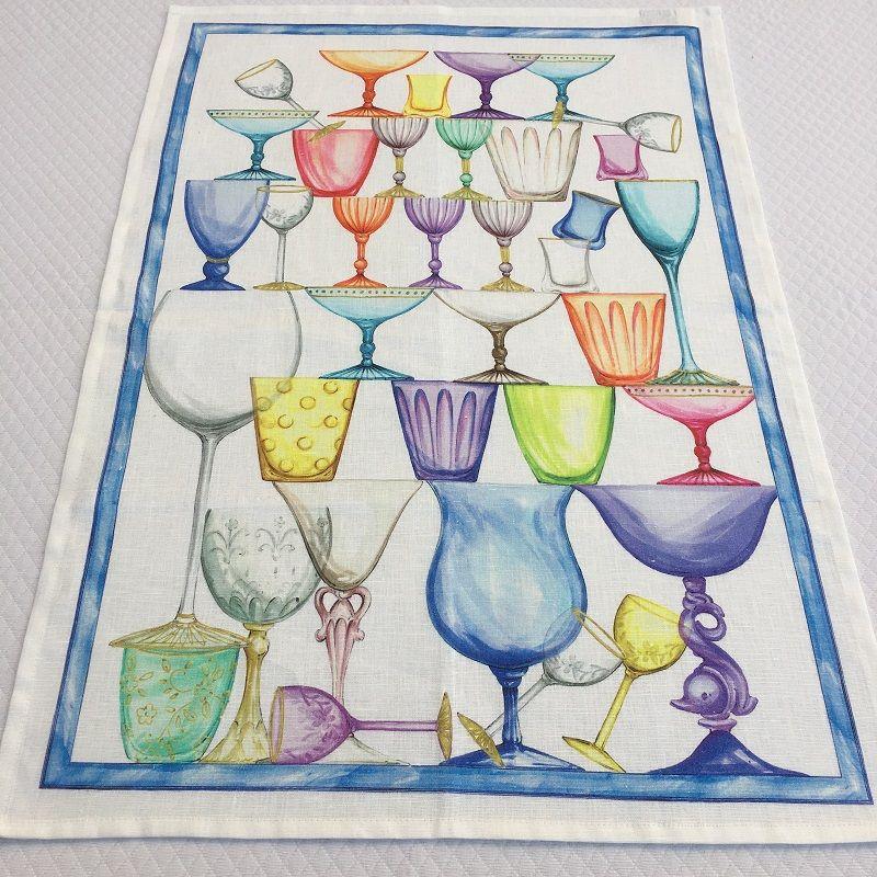 "Torchon en lin ""Crystal"" bordure bleue Tessitura Toscana Telerie"