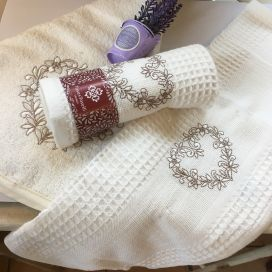 "Embrodery kitchen or hand towel ""Heart"" ecru"