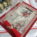 """Set de table Jacquard """"Savoie"""" rouge et gris Tissus Toselli, Nice"""