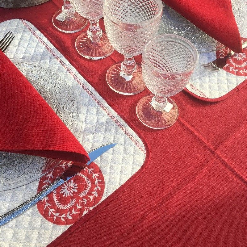"Quilted cotton placemat ""Montagne"" Hearts and red vichy"