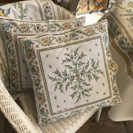 "Provence Jacquard cushion cover ""Moustiers"" ecru and green from Tissus Toselli in Nice"