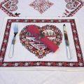 """Set de table Jacquard """"Plagne"""" écru et chocolat  Tissus Toselli, Nice"""