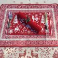 "Provence Jacquard placemat,""Vallée"" red and ecru from Tissus Toselli in Nice"