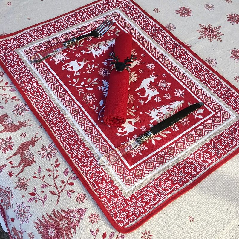"Set de table Jacquard ""Vallée"" rouge et ecru Tissus Toselli, Nice"