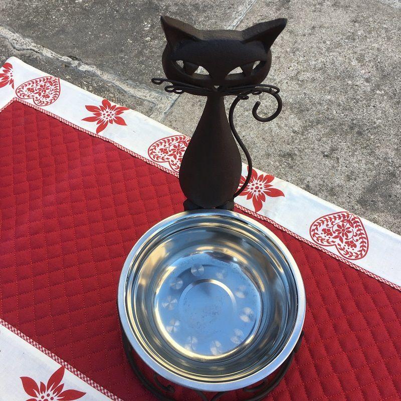 """Metal cat's dinner bowl """"L'élégante"""""""