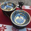 "Double metal cat's dinner bowl ""Mon Minou"""