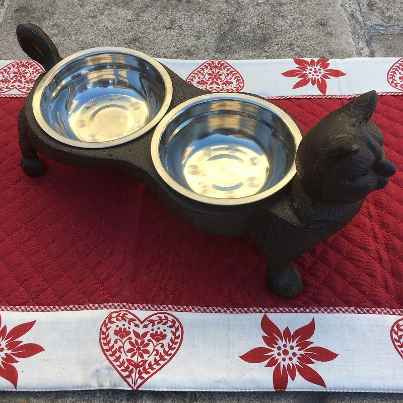 """Double cast iron cat's dinner bowl """"Mon Matou"""""""
