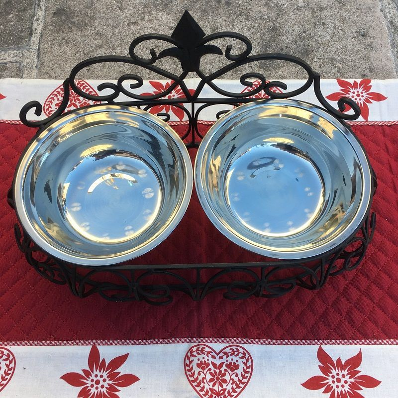 "Double metal cat's or dog's dinner bowl ""La Royale"""