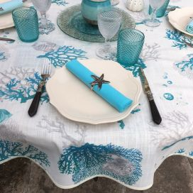 "Round coated cotton tablecloth ""Corail""  blue"