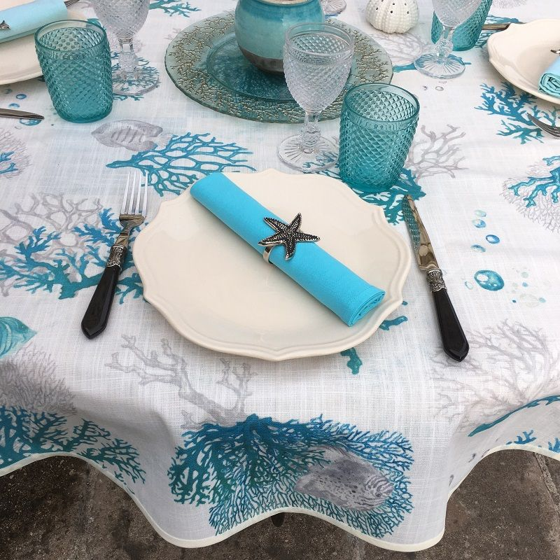 """Round coated cotton tablecloth """"Corail""""  blue"""