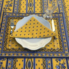 "Bordered quilted placemats ""Avignon"" yellow and blue, by Marat d'Avignon"