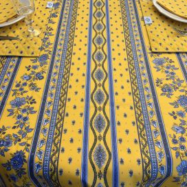 "Provence rectangular tablecloth in cotton ""Avignon"" yellow and blue ""Marat d'Avignon"""