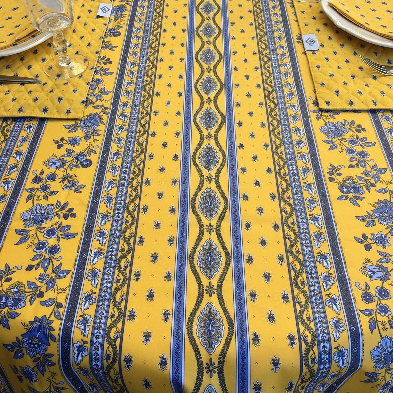 """Nappe provençale rectangulaire en coton """"Avignon"""" jaune et bleu """"Marat d'Avignon"""""""