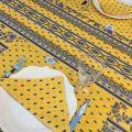 "Provence rectangular tablecloth in cotton ""Avignon"" yellow and blue ""Marat d'Avignon"""