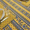"""Nappe provençale rectangulaire en coton enduit """"Avignon"""" jaune et bleue Marat d'Avignon"""