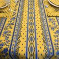 """Provence rectangular coated cotton tablecloth """"Avignon"""" yellow and blue by """"Marat d'Avignon"""""""