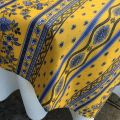 "Provence rectangular coated cotton tablecloth ""Avignon"" yellow and blue by ""Marat d'Avignon"""