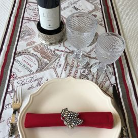 "Webbed table runner  Jacquard ""Bordeaux"" Tissus Tosseli"