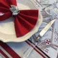 """Rectangular Jacquard tablecloth """"Bordeaux""""ecru and red by Tissus Toselli"""