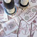 """Nappe rectangulaire Jacquard """"Bordeaux"""" écru et rouge Tissus Toselli"""