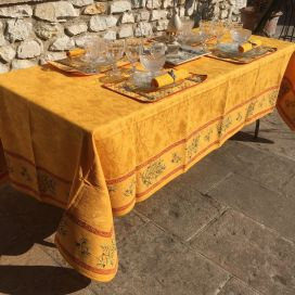 "Damask Jacquard tablecloth golden yellow, bordure ""Clos des Oliviers"" Saffron color"