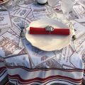 """Square Jacquard tablecloth """"Bordeaux""""ecru and red by Tissus Toselli"""