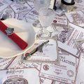 """Nappe carrée Jacquard """"Bordeaux"""" écru et rouge Tissus Toselli"""