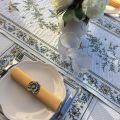 """Chemin de table jacquard """"Moustiers"""" écru et vert Tissus Tosseli"""