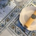 "Jacquard table runner ""Moustiers"" ecru and green Tissus Tosseli"