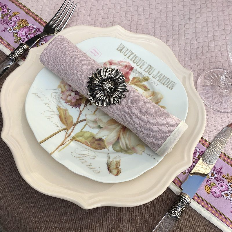 "Set of 10 damask Jacquard table napkins ""Croisillons"" powder pink"