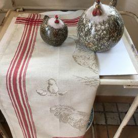 """Torchon de cuisine en jacquard """"Basse cour"""" Tissus Toselli"""