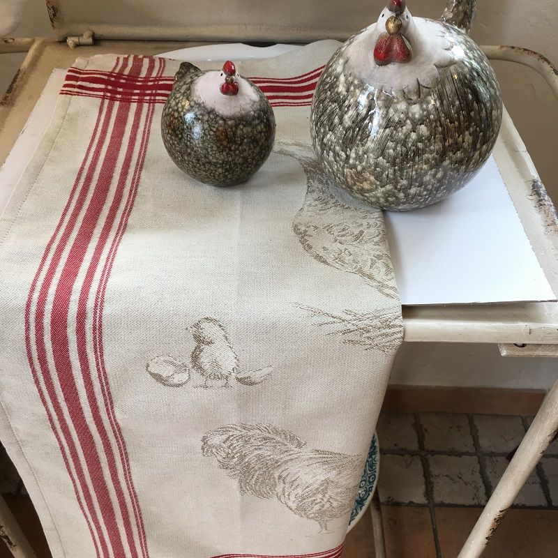 """Jacquard kitchen towel """"Farmyard"""" by Tissus Toselli"""