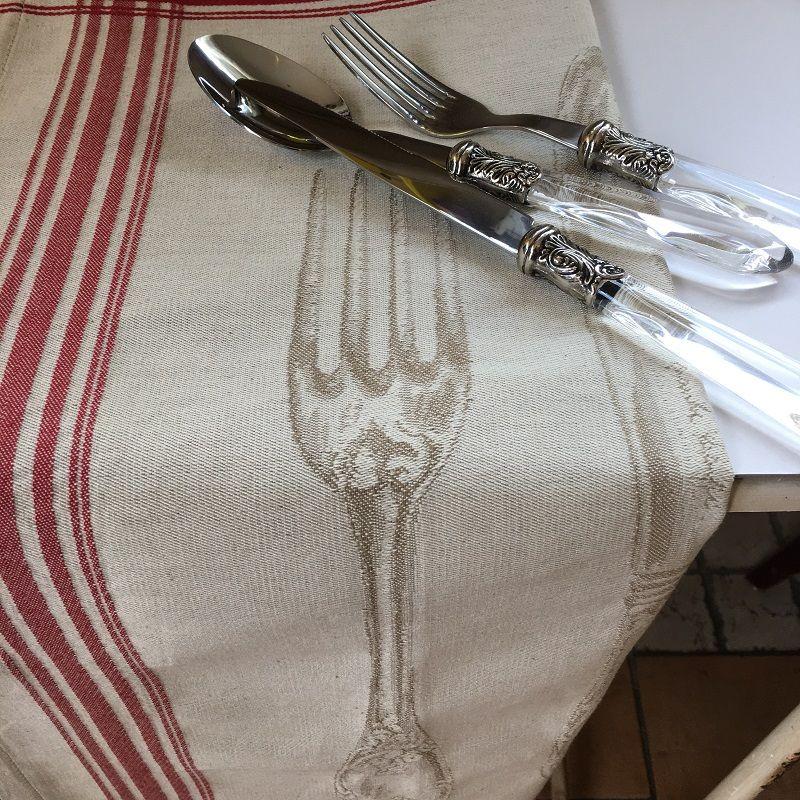 """Torchon de cuisine en jacquard """"Les couverts"""" Tissus Toselli"""