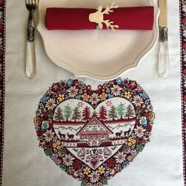"Jacquard table runner ""Plagne"" écru and chocolate byTissus Tosseli"