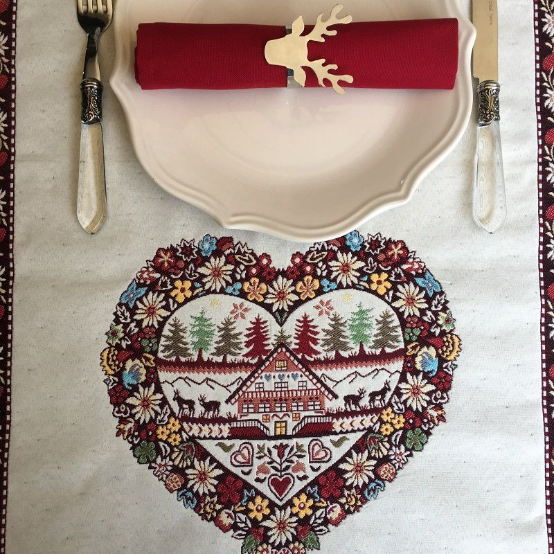 """Jacquard table runner """"Plagne"""" écru and chocolate byTissus Tosseli"""
