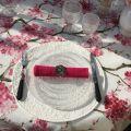 "Rectangular organza tablecloth, cherry  blossom ""Cherry tree"" pink"