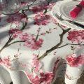 """Nappe rectangulaire en organza """"Cerisier"""" rose"""