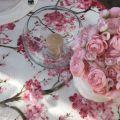 "Nappe carrée en organza ""Cerisier"" rose"